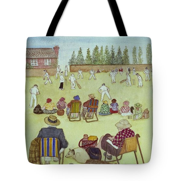 Cricket On The Green, 1987 Watercolour On Paper Tote Bag by Gillian Lawson