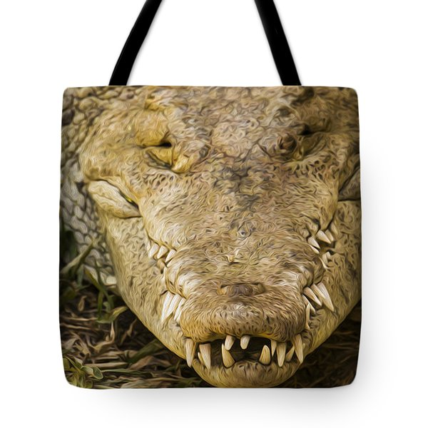 Crocodile Tote Bag by Aged Pixel