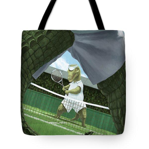 crocodiles playing tennis at wimbledon  Tote Bag by Martin Davey