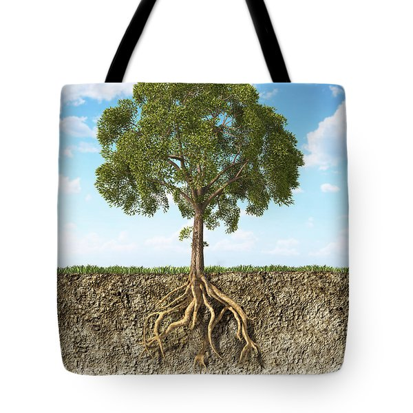 Cross Section Of Soil Showing A Tree Tote Bag by Leonello Calvetti