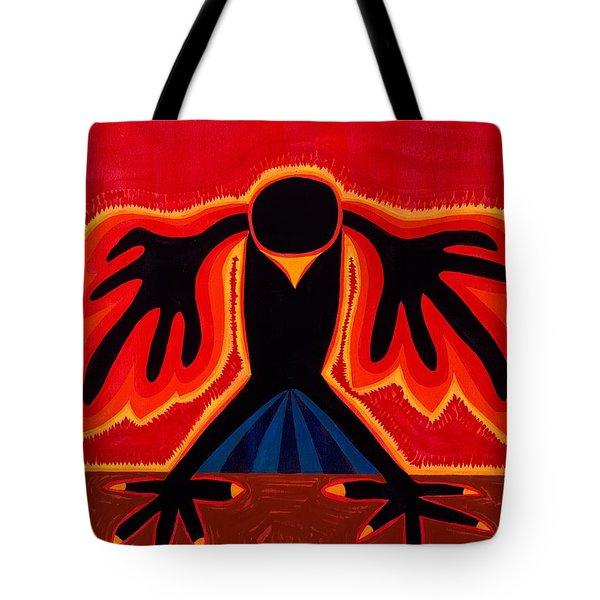 Crow Rising original painting Tote Bag by Sol Luckman