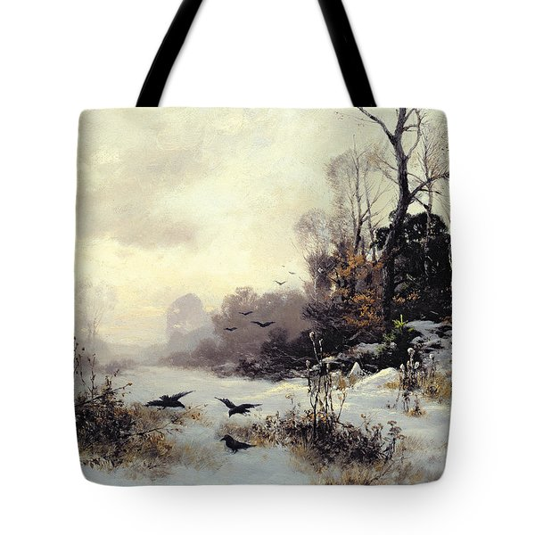 Crows In A Winter Landscape Tote Bag by Karl Kustner