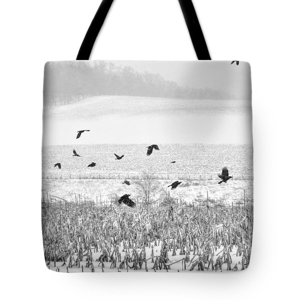 Crows In Cornfield Winter Tote Bag by Dan Friend