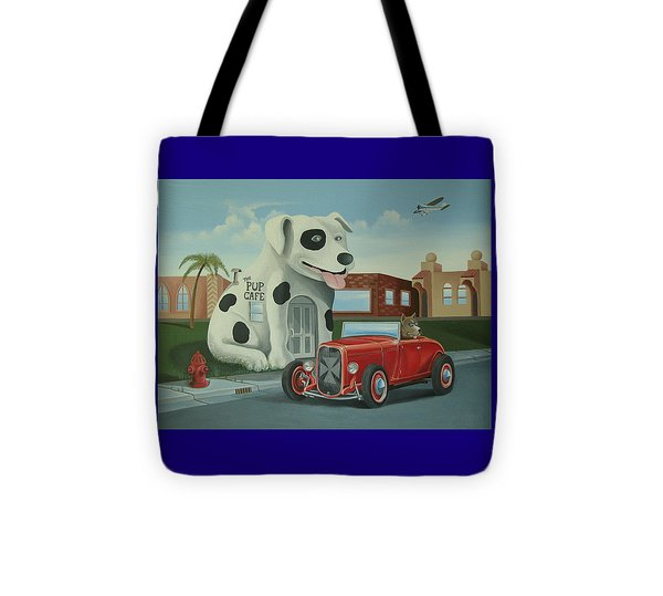 Cruisin' At The Pup Cafe Tote Bag by Stuart Swartz