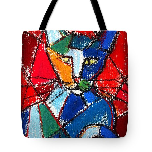 Cubist Colorful Cat Tote Bag by Mona Edulesco