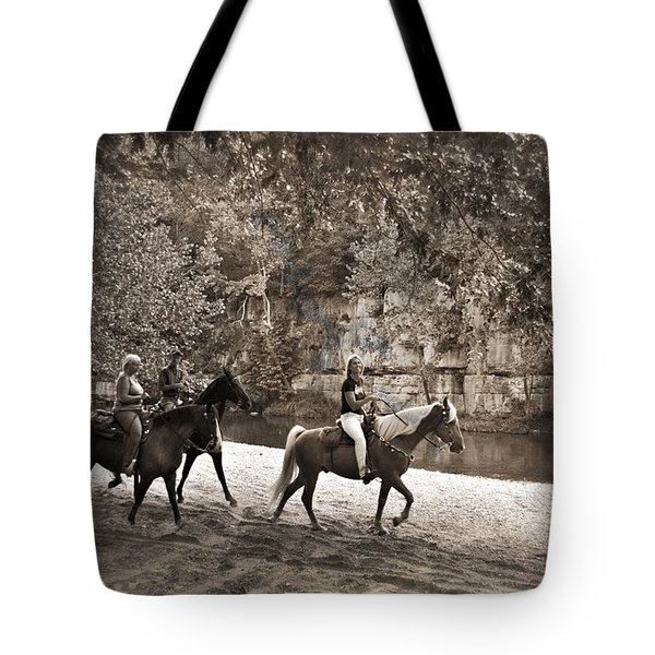 Current River Horses Tote Bag by Marty Koch