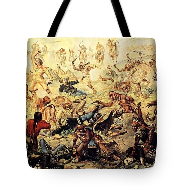 Custer's Last Fight Detail Tote Bag by Unknown
