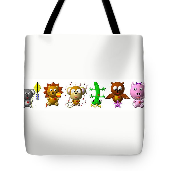Cute Critters With Heart K To P Tote Bag by Rose Santuci-Sofranko