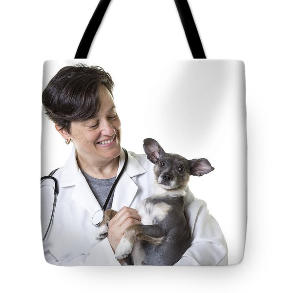 Cute little puppy with Vet Tote Bag by Edward Fielding