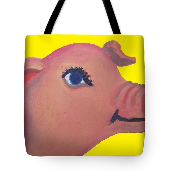 Cute Pig On Yellow Tote Bag by Cherie Sexsmith