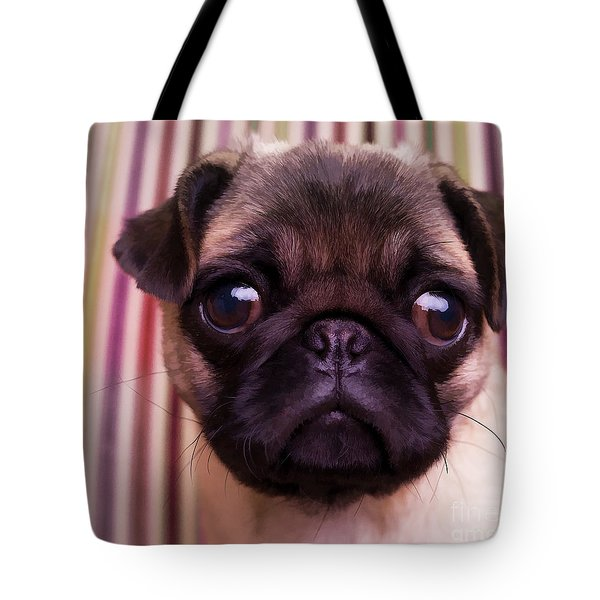 Cute Pug Puppy Tote Bag by Edward Fielding
