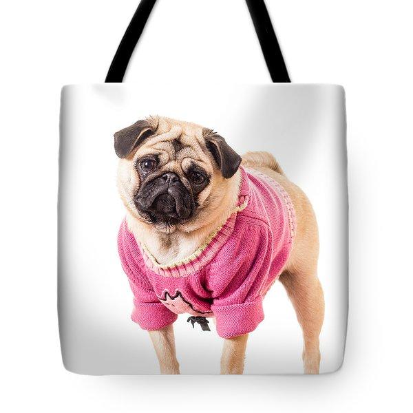 Cute Pug wearing sweater Tote Bag by Edward Fielding
