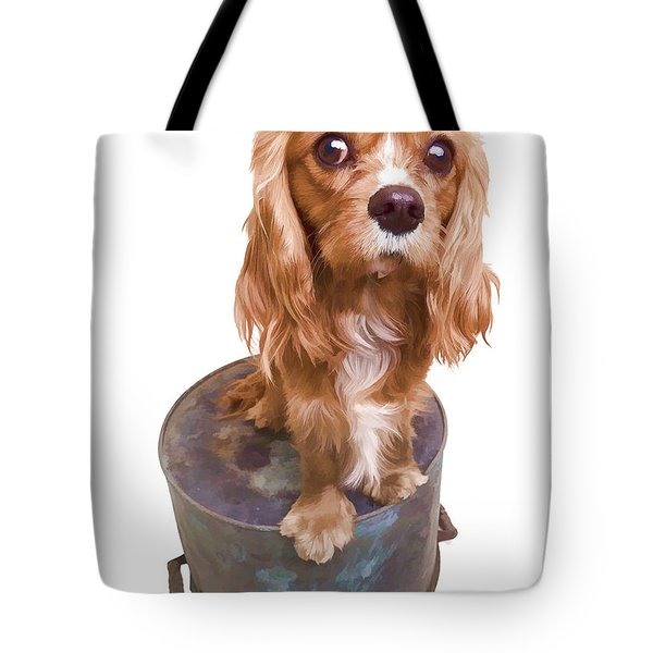 Cute Puppy Card Tote Bag by Edward Fielding