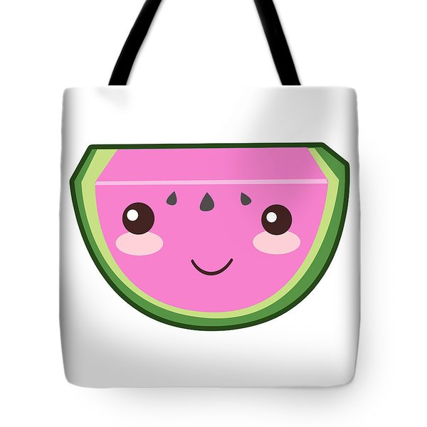 Cute Watermelon Illustration Tote Bag by Pati Photography