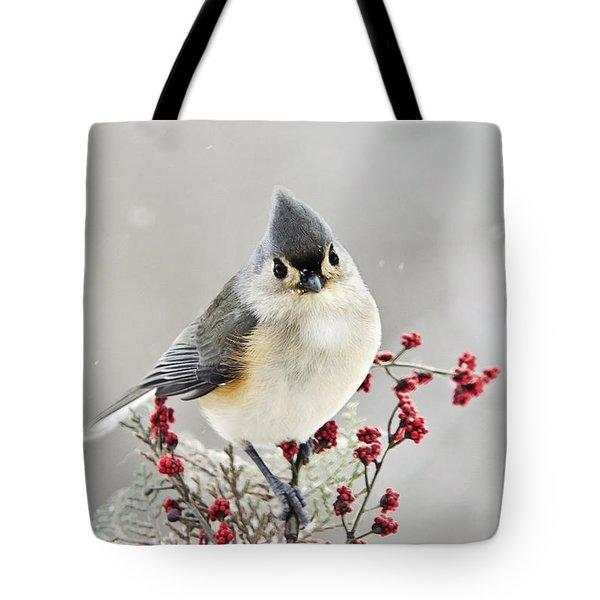 Cute Winter Bird - Tufted Titmouse Tote Bag by Christina Rollo