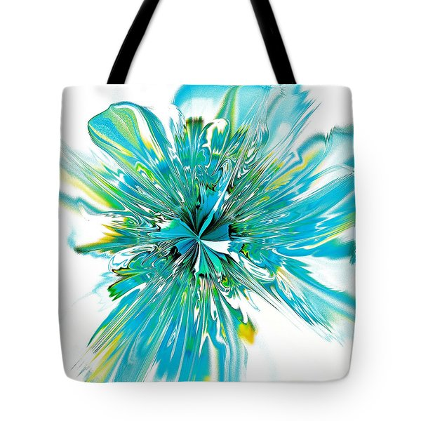 Cyan Blue Tote Bag by Anastasiya Malakhova