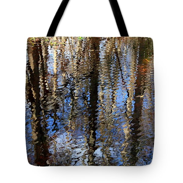 Cypress Reflection Nature Abstract Tote Bag by Carol Groenen