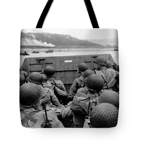 D-Day Soldiers In A Higgins Boat  Tote Bag by War Is Hell Store