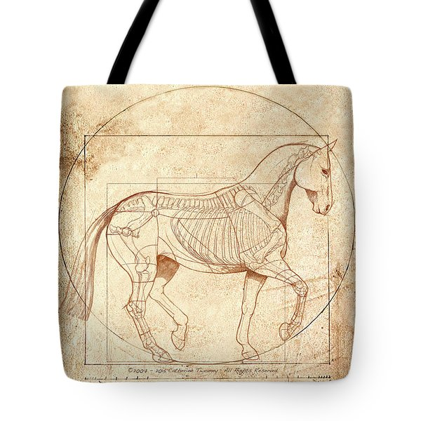 da Vinci Horse in Piaffe Tote Bag by Catherine Twomey