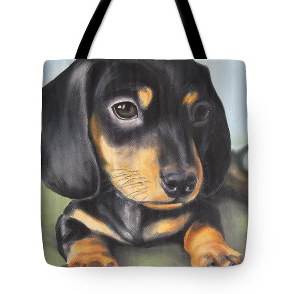 Dachshund Puppy Tote Bag by Jindra Noewi