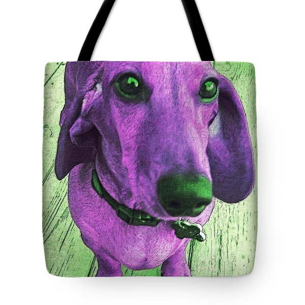 Dachshund - Purple People Greeter Tote Bag by Rebecca Korpita