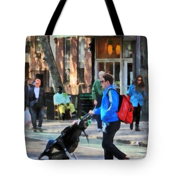 Daddy Pushing Stroller Greenwich Village Tote Bag by Susan Savad