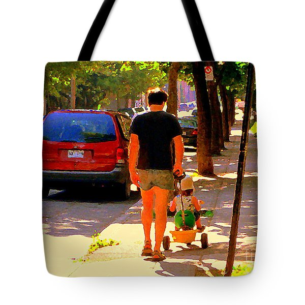Daddy's Little Buddy Perfect Day Wagon Ride Montreal Neighborhood City Scene Art Carole Spandau Tote Bag by Carole Spandau