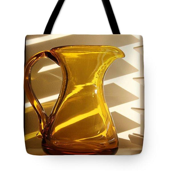 Dad's Amber Pitcher By Blenko Glass Tote Bag by Karen Adams