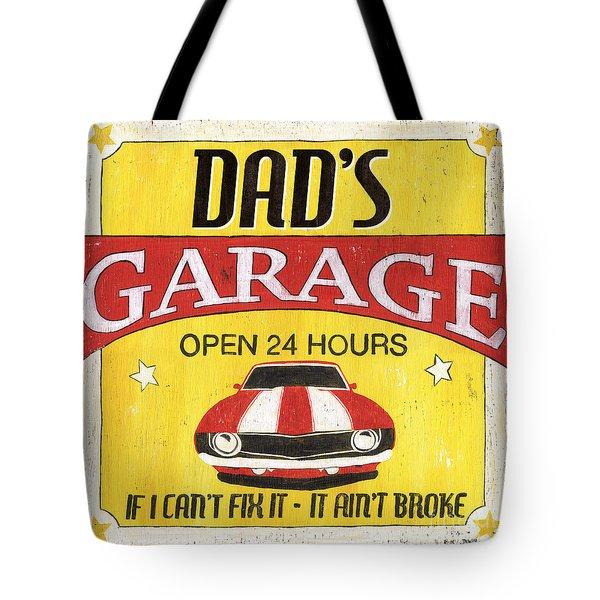 Dad's Garage Tote Bag by Debbie DeWitt