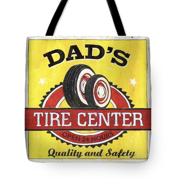 Dad's Tire Center Tote Bag by Debbie DeWitt