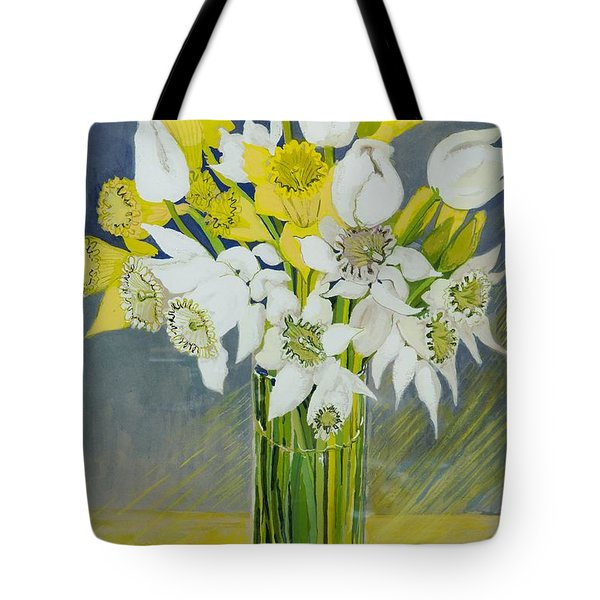 Daffodils And White Tulips In An Octagonal Glass Vase Tote Bag by Joan Thewsey