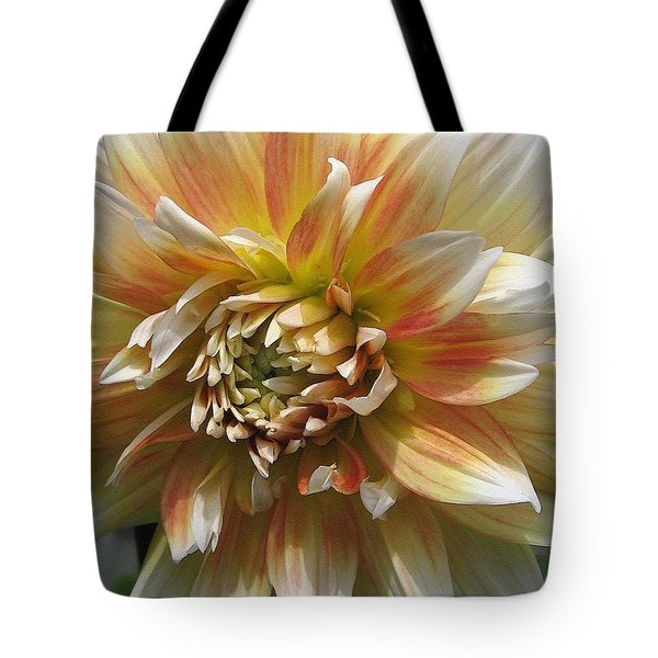 Dahlia Named Peaches-n-cream Tote Bag by J McCombie