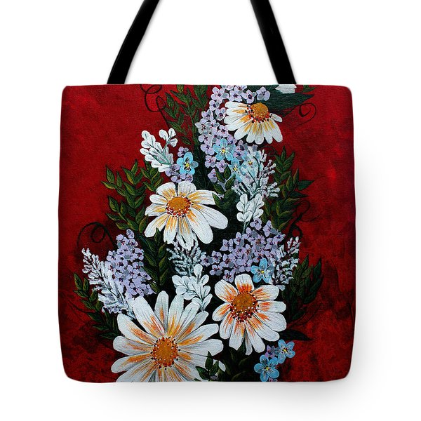 Daisies Lilacs And Forget Me Nots Tote Bag by Barbara Griffin