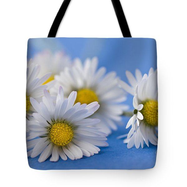 Daisies On Blue Tote Bag by Jan Bickerton