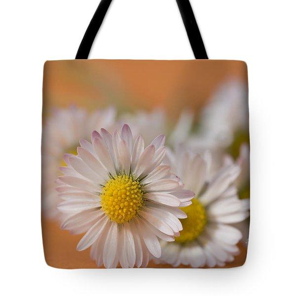 Daisies On Orange Tote Bag by Jan Bickerton