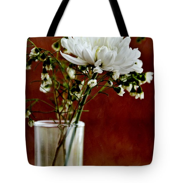 Daisy Mum On Red 3 Tote Bag by Angelina Vick