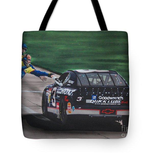 Dale Earnhardt Wins Daytona 500-pit Road Hand Shake Tote Bag by Paul Kuras
