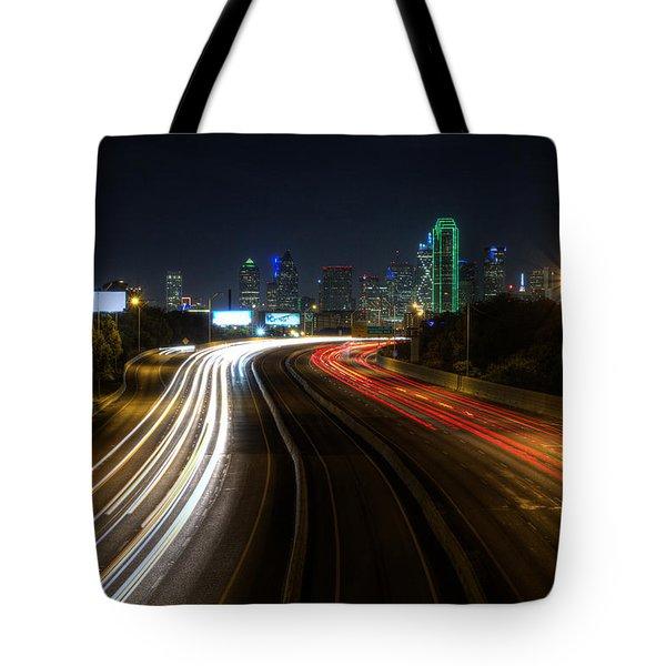 Dallas Night Light Tote Bag by Jonathan Davison