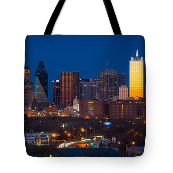 Dallas Skyline Panorama Tote Bag by Inge Johnsson