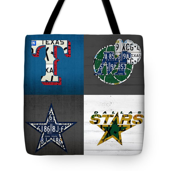 Dallas Sports Fan Recycled Vintage Texas License Plate Art Rangers Mavericks Cowboys Stars Tote Bag by Design Turnpike