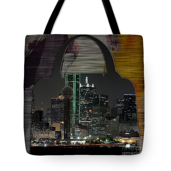 Dallas Texas Skyline In A Purse Tote Bag by Marvin Blaine
