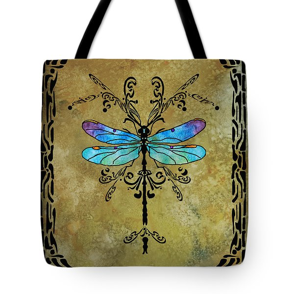 Damselfly Nouveau Tote Bag by Jenny Armitage