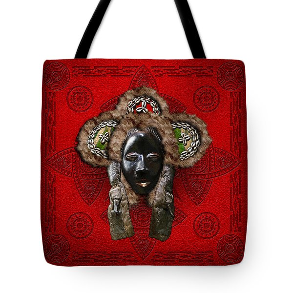 Dan Dean-Gle Mask of the Ivory Coast and Liberia on Red Leather Tote Bag by Serge Averbukh