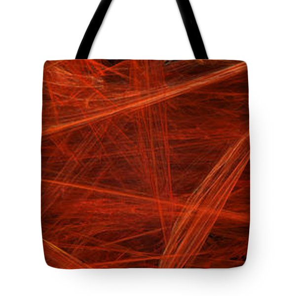 Dancing Flames 1 H - Panorama - Abstract - Fractal Art Tote Bag by Andee Design