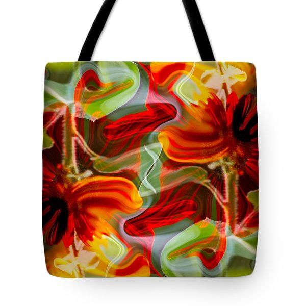 Dancing Flowers Tote Bag by Omaste Witkowski