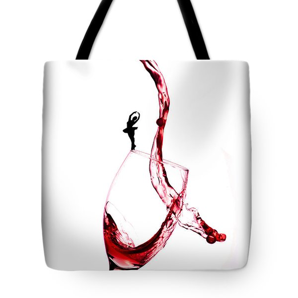 Dancing On A Glass Cup With Splashing Wine Little People On Food Tote Bag by Paul Ge