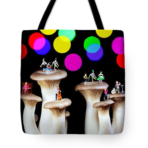 Dancing On Mushroom Under Starry Night Tote Bag by Paul Ge