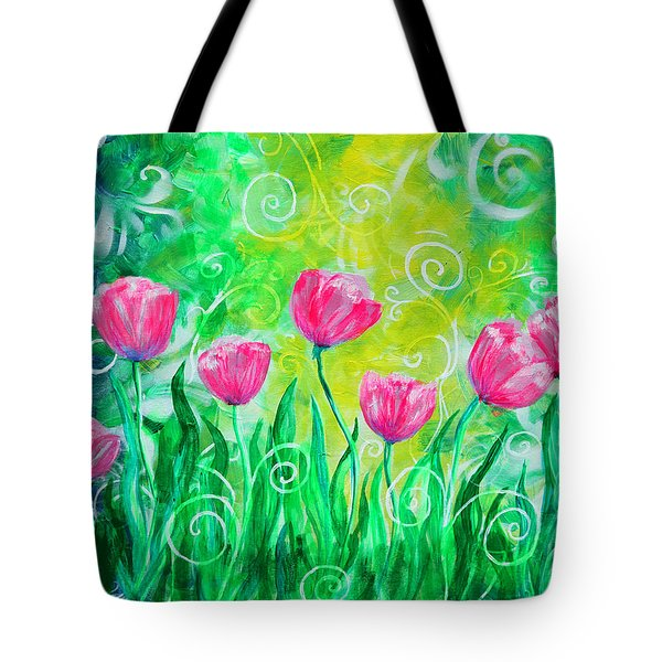 Dancing Tulips Tote Bag by Jan Marvin