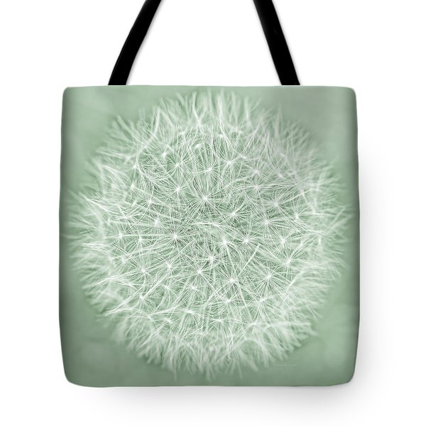 Dandelion Macro Abstract Soft Green Tote Bag by Jennie Marie Schell