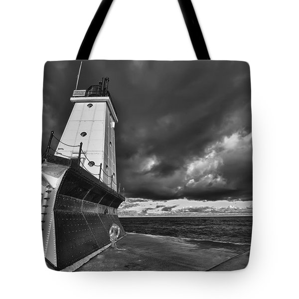 Dark Clouds Black And White Tote Bag by Sebastian Musial